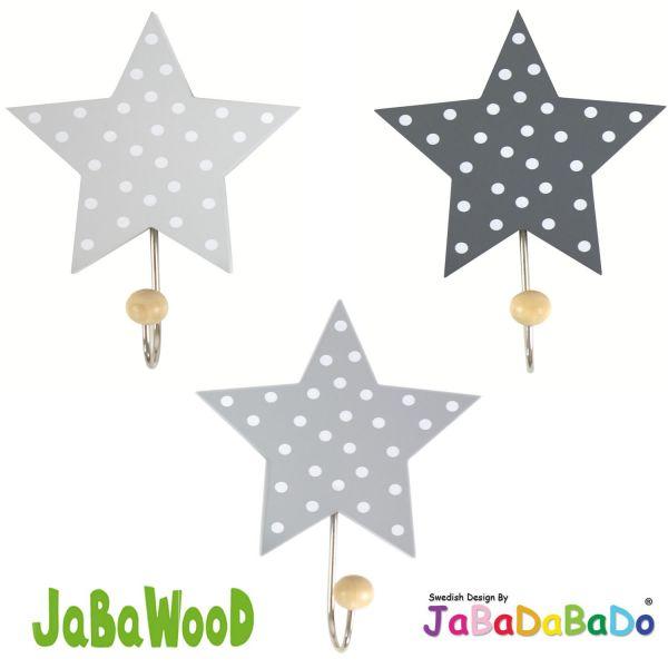 JaBaDaBaDo 3 Holz Kinder Wandhaken Kleiderhaken Sterne Grau R16016 ...