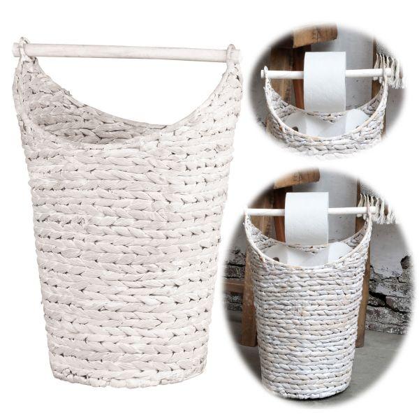 Toilettenpapier-Ständer Deko-Korb Weiß Klorollen-Halter Rattan-Look