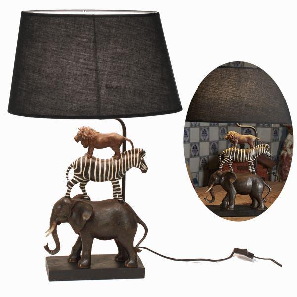 Tischlampe Safari Elefant Löwe Zebra 70cm Tischleuchte Nachttischlampe