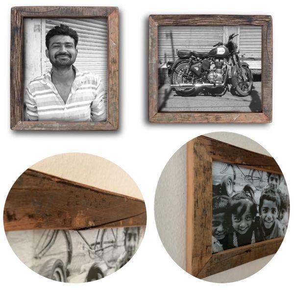 Wand-Bilderrahmen Fund-Holz 20x30cm Fotorahmen Vintage Retro Recycelt