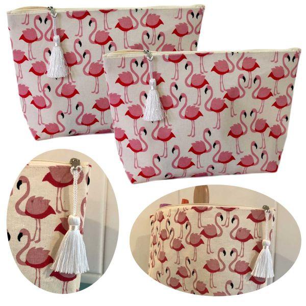 2x Kulturtasche Set Flamingo Rosa 25x20cm Kulturbeutel Waschtasche