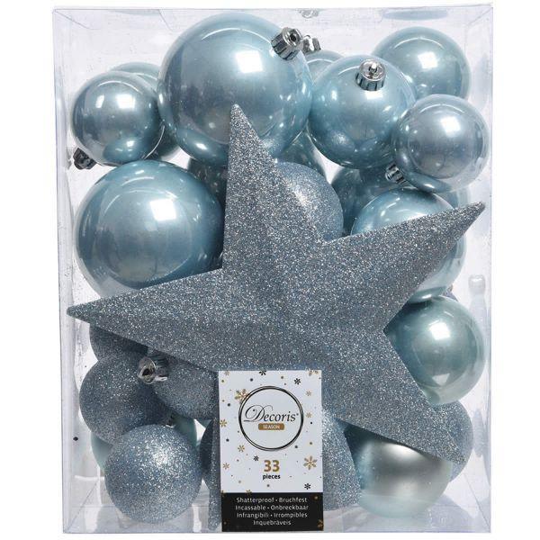 33 Christbaumkugeln Kunststoff Blau Weihnachtskugeln Spitze Stern