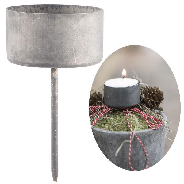 Metall Teelicht-Halter Spieß Grau 7,5x4,1cm Kerzen-Ständer Leuchter