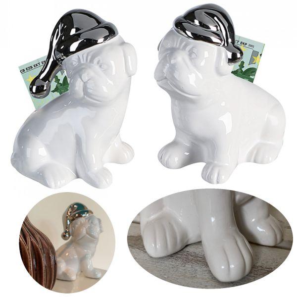 Keramik Spardose Schlafmütze Mops Weiß Silber 14cm Sparschwein Kasse