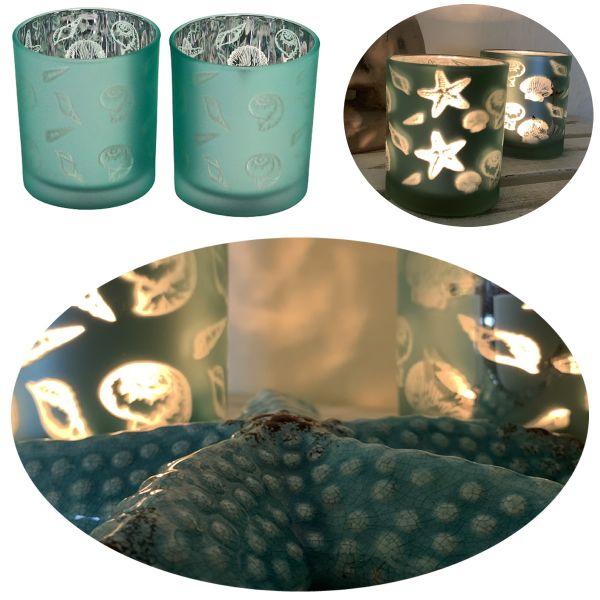2x Glas Teelichthalter Set Blau Grün Maritim Teelichtglas Windlicht-Halter