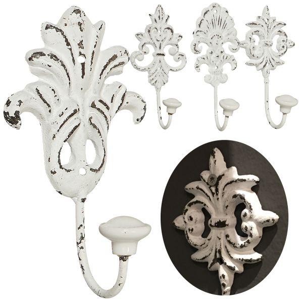 2x Garderobenhaken Metall Weiß Wandhaken Wand-Garderobe Barock Antik