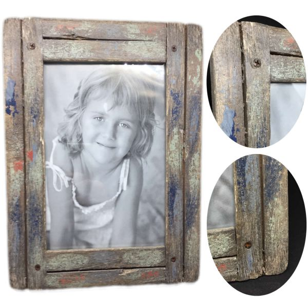 Stand-Bilderrahmen Fotorahmen Holz Vintage Retro Shabby Grau Blau 10x15cm