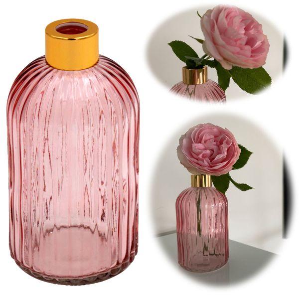 Retro Glas-Vase 14cm Rosa Gold Colour Deko Tisch-Vase Blumenvase Väschen