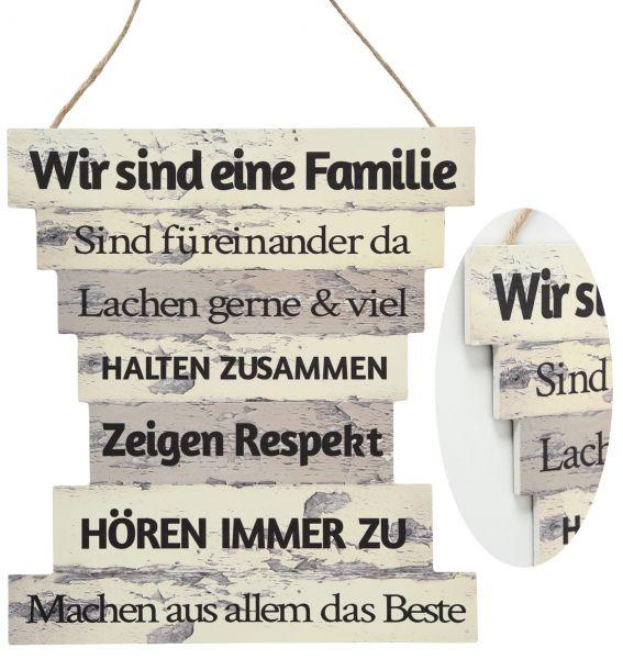 Holzschild Vintage 7 Familien-Regeln Wand-Schild Familie Deko-Tafel