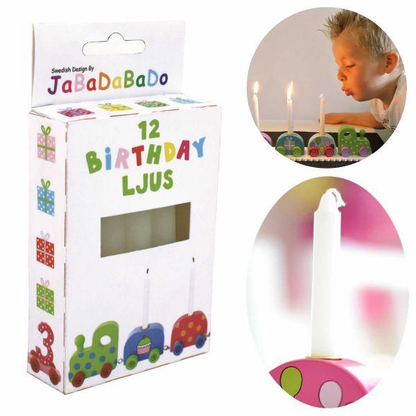 JaBaDaBaDo Kinder Geburtstagskerzen 12´er Set Weiß 10cm R15053