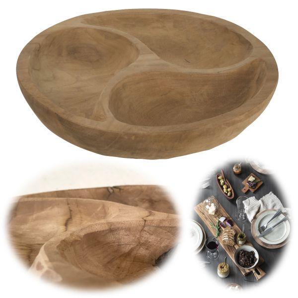 Teak-Holz Servier-Schale Rund 3-fach 35cm Tapas-Schale Snack-Schüssel