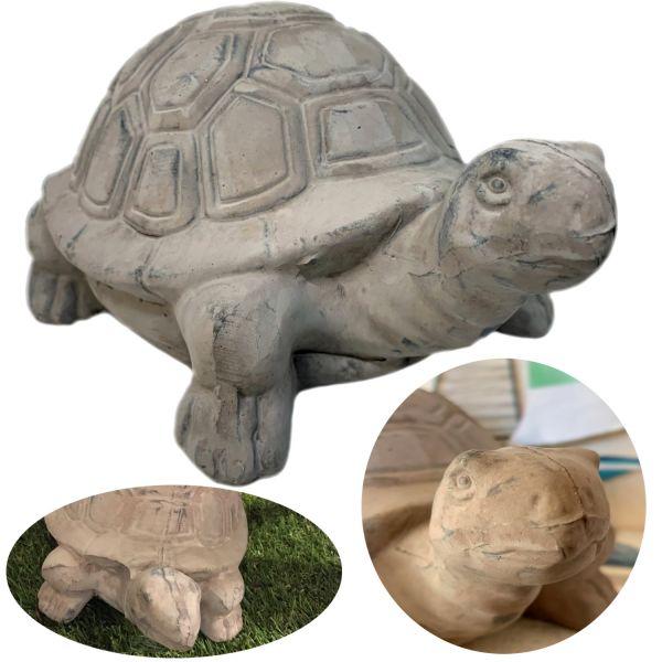 Deko-Objekt Land-Schildkröte 25cm Grau Garten-Figur Schildkröten-Figur
