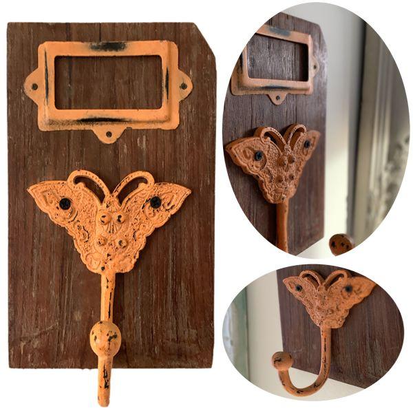 Garderobenhaken Teak Holz Blume Orange Wandhaken Wand-Garderobe Vintage Antik