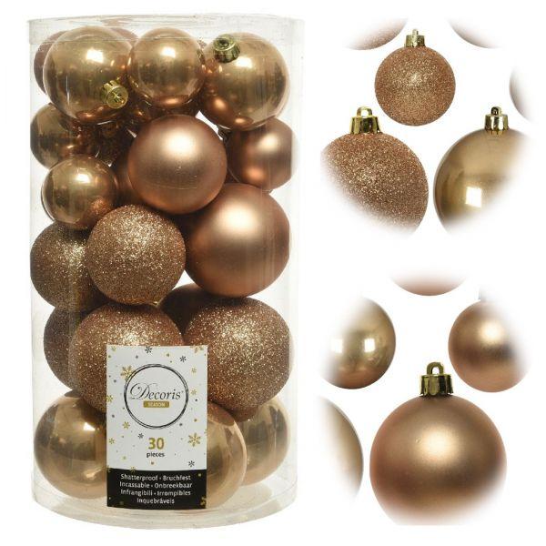 30 Kunststoff Weihnachtskugeln Braun 4cm-6cm Baumkugel Dekokugel