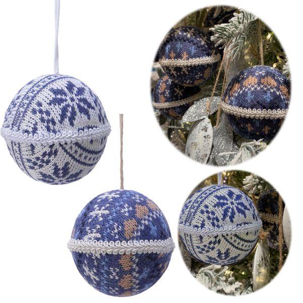 2 Design XL Weihnachtskugeln 8cm Blau Weiß Stoff Kunststoff Baumkugel Deko
