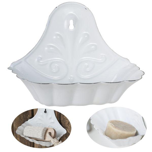 Seifenschale Emaille Weiß 16cm Altum Seifenhalter Seifenablage