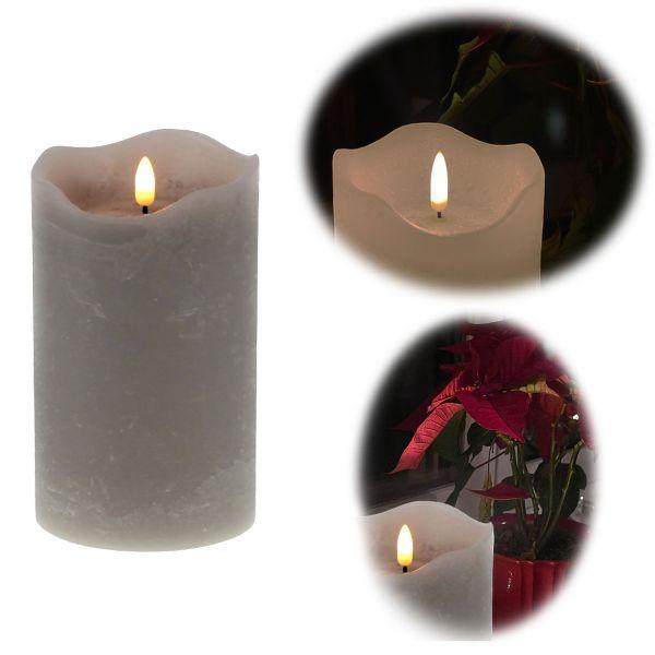 LED 3D Stumpenkerze Grau 15cm Echtwachs flackernde flammenlose Kerze