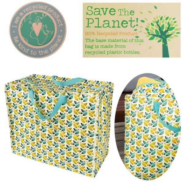 XXL Jumbo Bag Vögel Grün Recycled Öko Allzwecktasche Einkaufstasche