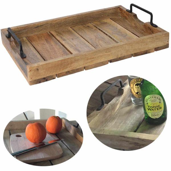 XL Mango Serviertablett 38x25cm Holz-Tablett Dekotablett Griff Henkel Shabby