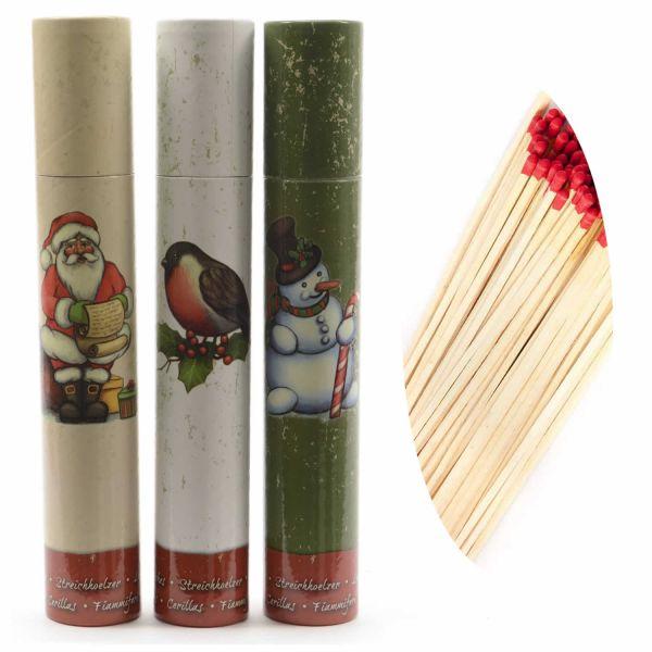 XXL 120 Streichhölzer 30cm lang Köcher Zündhölzer Weihnachten 3er-Set