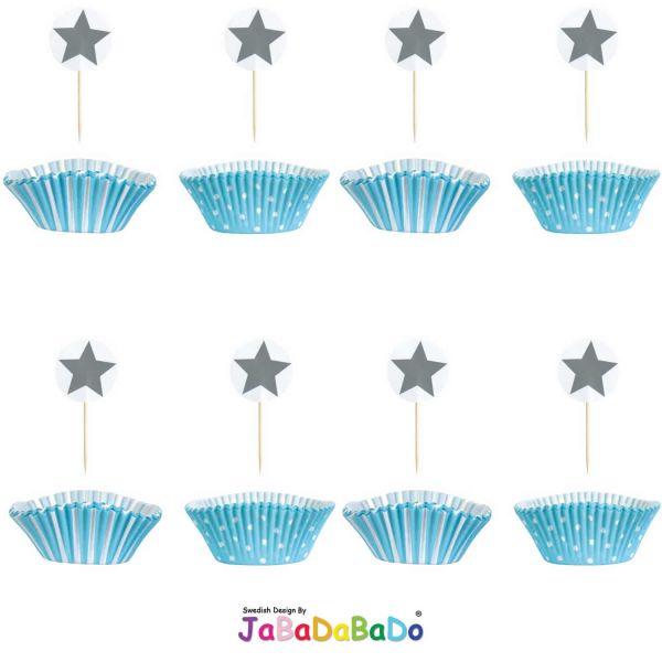 JaBaDaBaDo 24tlg Cupcake Set Blau Muffin Backförmchen Geburtstag Z17143