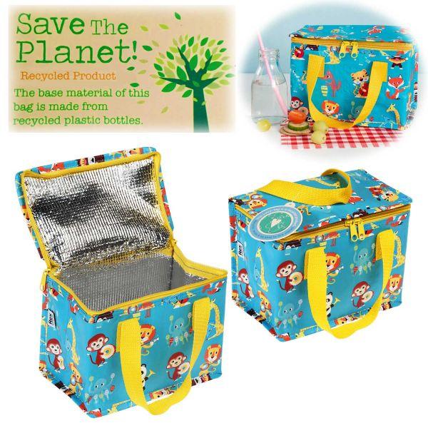 Vintage Kinder Kühltasche Tiere 21x13cm Recycelt Isoliertasche Kühlbox