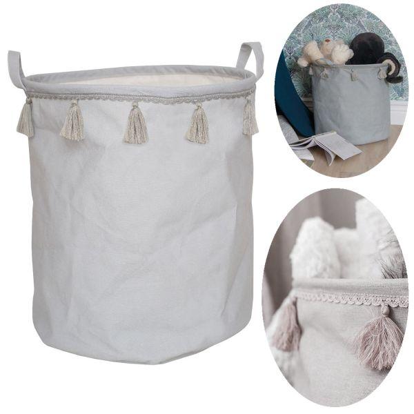 JaBaDaBaDo Kinder Aufbewahrungsbox Grau 40cm Wäsche-Sack Korb K033