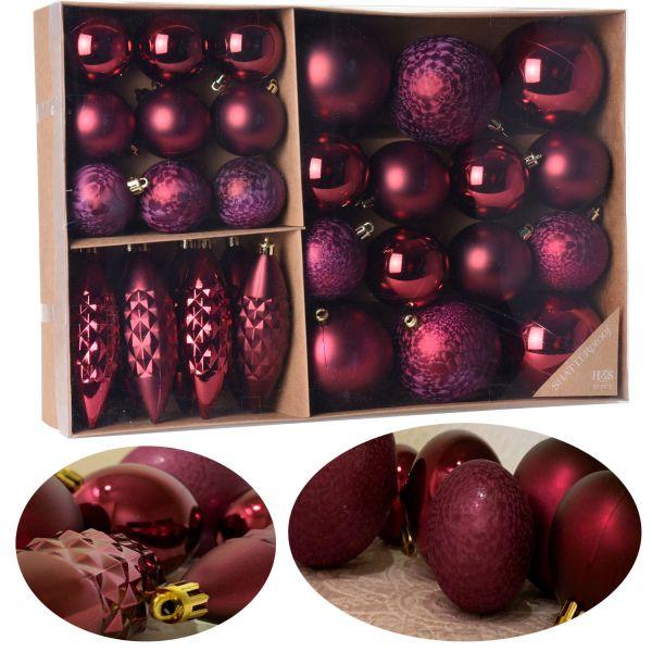 31 Christbaumkugeln Set Bordeaux Rot Pink 4-7cm Christbaum-Zapfen Kunststoff