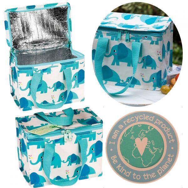 Vintage Kinder Kühltasche Elefant Blau Grün Thermotasche Öko recycled Lunchbag