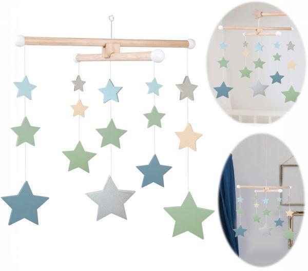 JaBaDaBaDo Holz Mobile Sterne Grün Blau Türkis T268 Baby Kinder-Zimmer