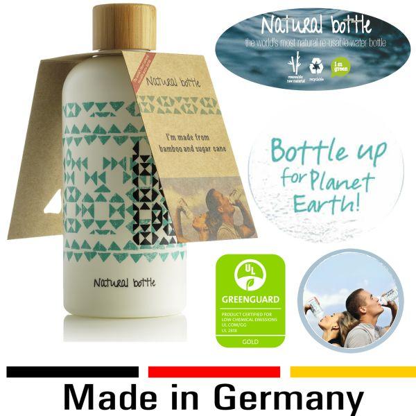 Natural Bottle Bio Trinkflasche Wasserflasche 97% Zuckerrohr Bambus