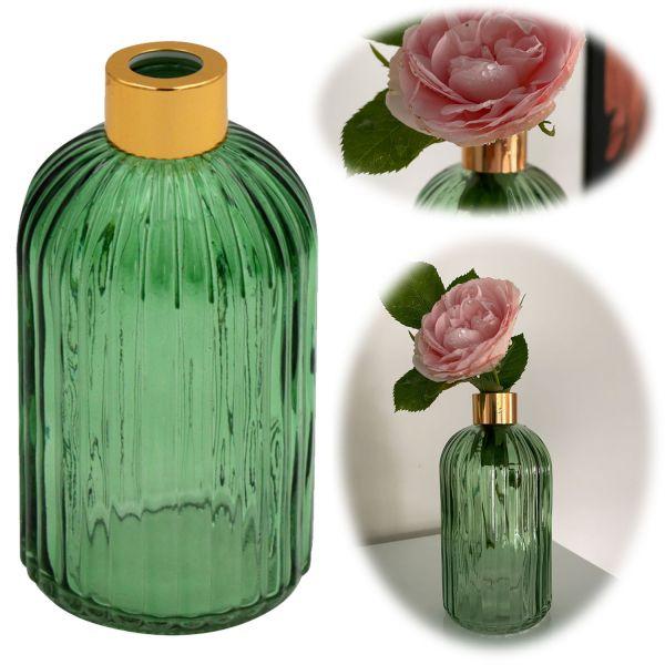 Retro Glas-Vase 14cm Grün Gold Colour Deko Tisch-Vase Blumenvase Väschen