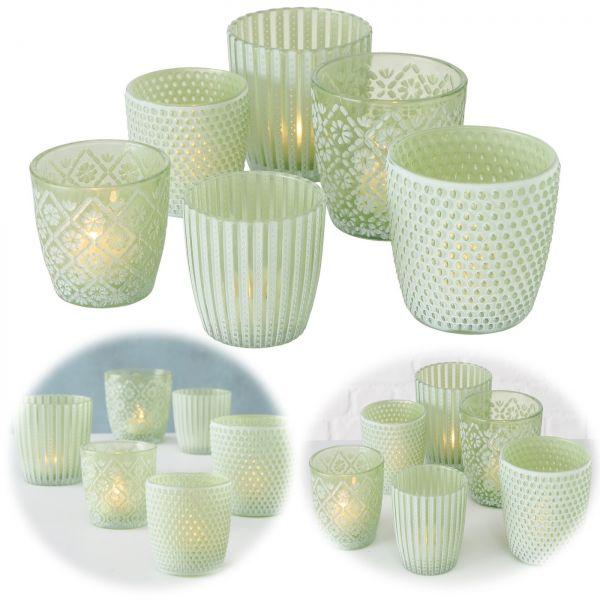 6x Glas Teelichthalter Retro Grün Weiß 7-9cm Set Windlicht-Halter Kerzenständer