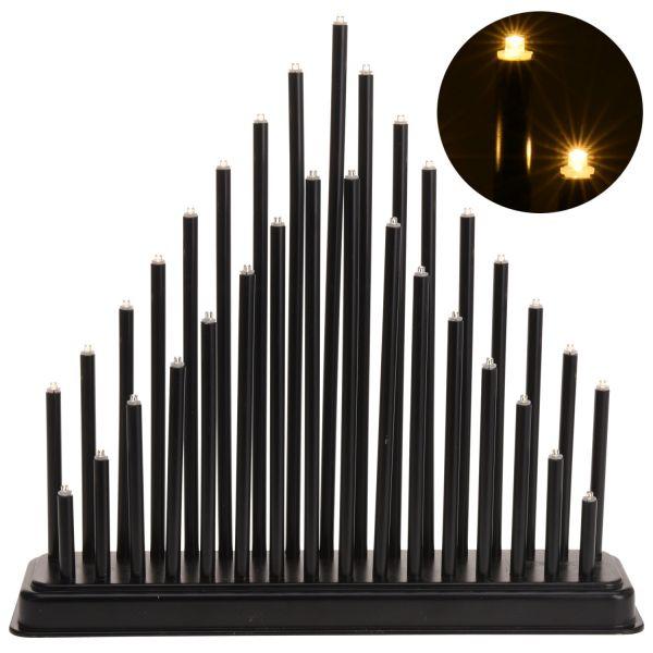 Schwibbogen Lichterbogen 33 LED Schwarz Fensterleuchter Pyramide