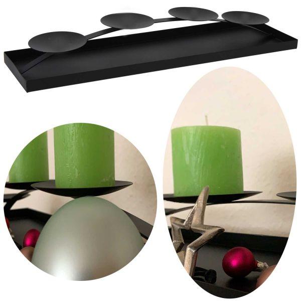 Kerzenschale Metall 58cm Schwarz Kerzenständer Kerzenleiste Kerzentablett