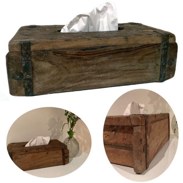 Tissue-Box Holz 31cm Braun Ziegelform Kosmetiktuch-Spender Taschentuch