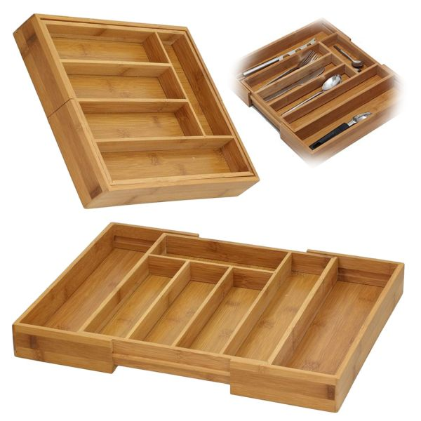 Holz Schubladeneinsatz Besteckkasten 28-45cm ausziehbar Besteckbox Organizer