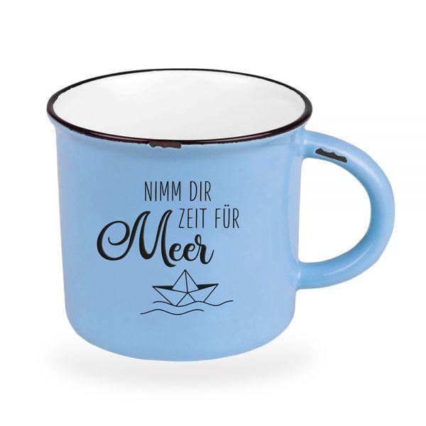 Vintage Kaffeebecher 470ml Porzellan Zeit für Meer Blau Emaille-Look Kaffeetasse