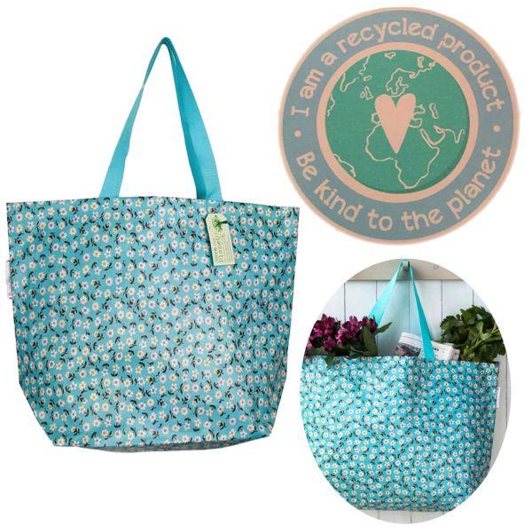Einkaufstasche Flower Recycled 60cm Shopper Strandtasche Schultertasche