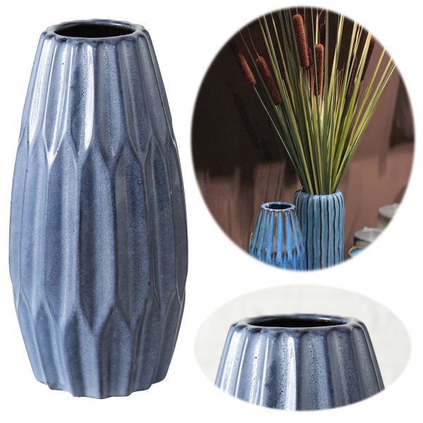Blumenvase Auarel Blau 24cm Keramik Tischvase Tisch-Deko Trend-Farbe