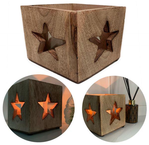 Holz Windlicht Braun Stern 12cm Teelichthalter Teelichtglas Halter