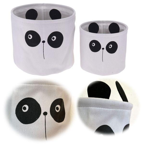 Kinder Aufbewahrungsbox 2´er Set 20-30cm Panda Faltbar Spielzeugbox Organizer