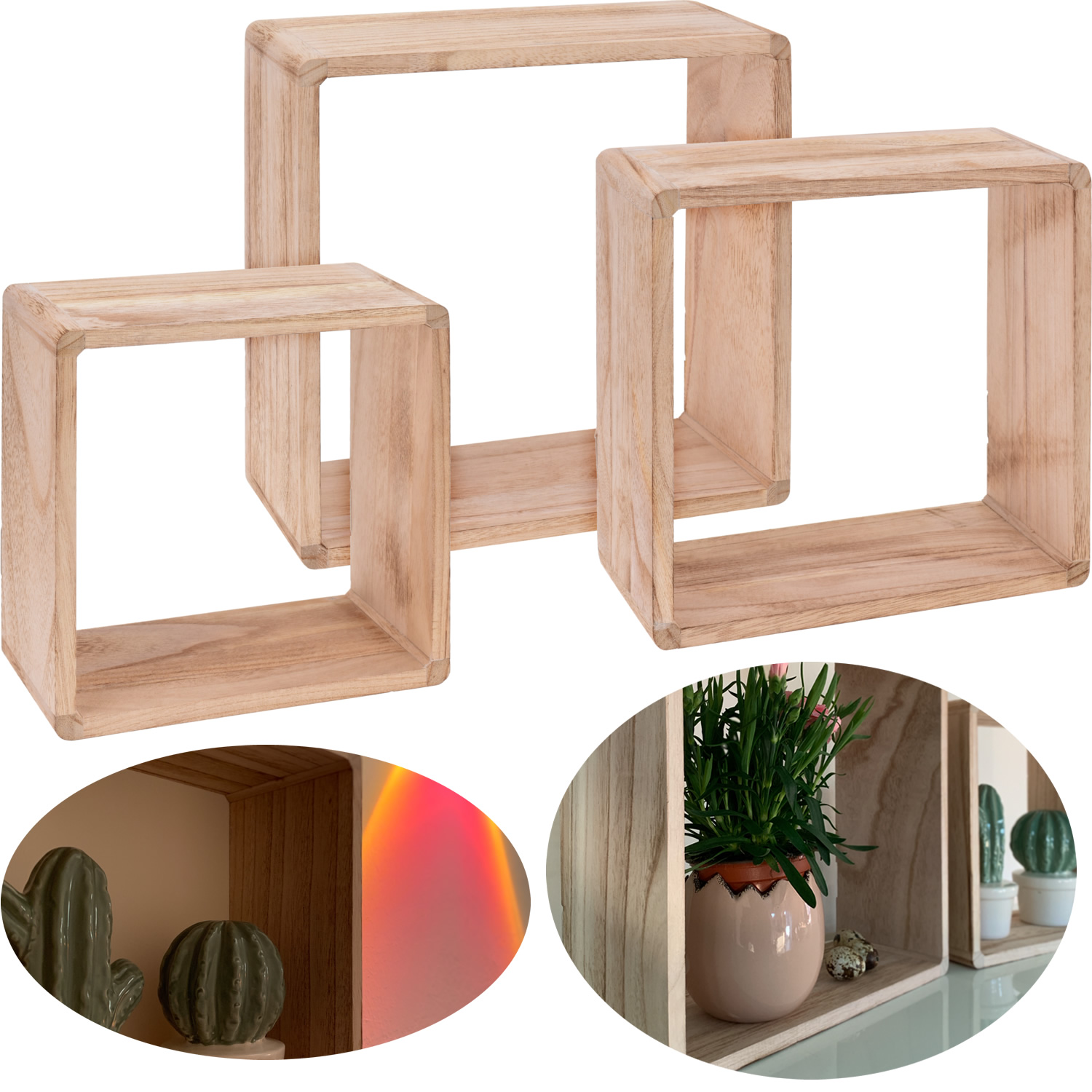 Cube Holz Regal Set 3teilig Quadrat Lounge Wand Regal Hangeregal