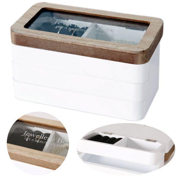 Holz Schmuck-Kasten Braun Weiß 19cm 4 Ebenen Schatulle Box Kästchen