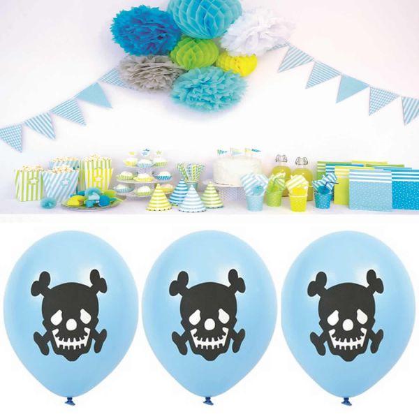 JaBaDaBaDo 8 Luftballon Naturlatex Pirat Blau Geburtstag Party B2002
