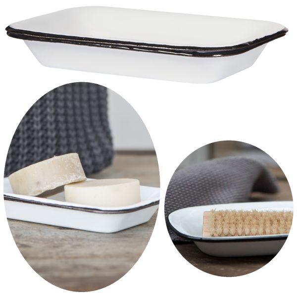 Seifenschale Emaille Creme Weiß 15cm Altum Seifenhalter Seifenablage