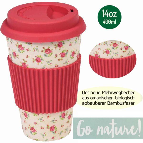 Coffee Cup 400ml Petit Rose Bambus Coffee to Go Becher Trinkbecher