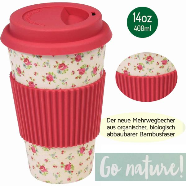 Coffee Cup 400ml Petit Rose Bambus Coffee to Go Becher Trinkbecher