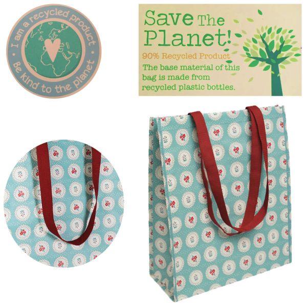 Shopper Einkaufstasche Vintage Blume Recycled Strandtasche Schultertasche