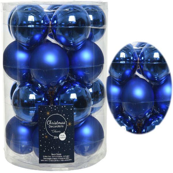 18-20 Design Glas Weihnachtskugeln 6cm Blau Königsblau Christbaum Deko